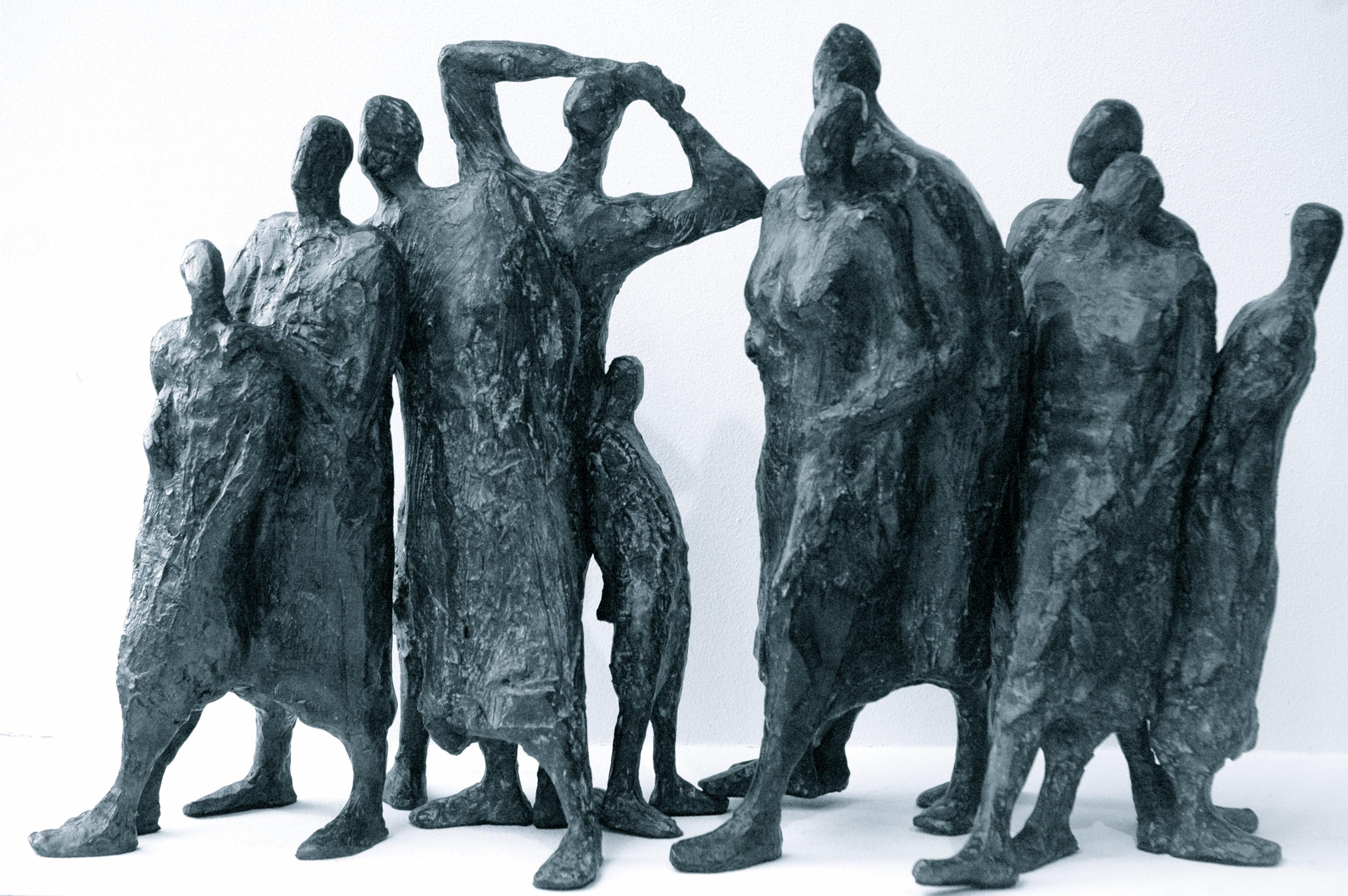 sculptures les visiteurs bronze veronique lonchamp
